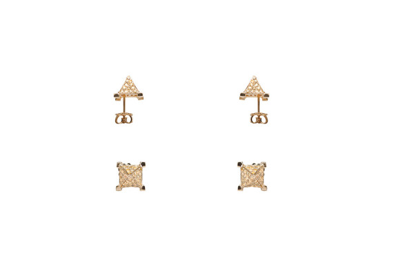 Pyramids yellow diamonds pavé earrings