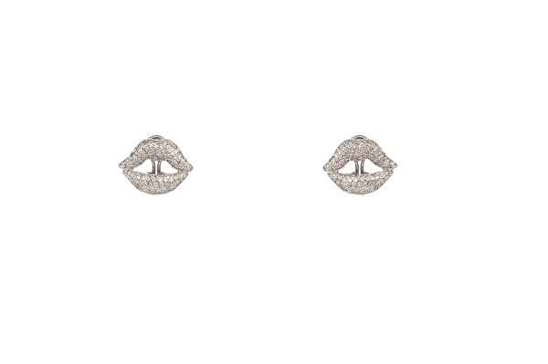 Mouth pavé earrings white gold with diamonds