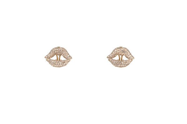 Mouth pavé earrings yellow gold with diamonds