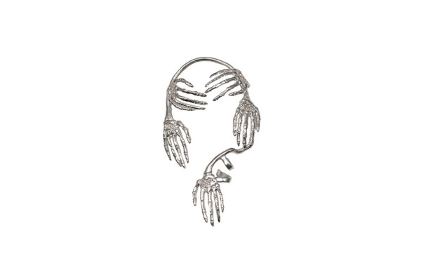 Skeleton hands silver mono-earring