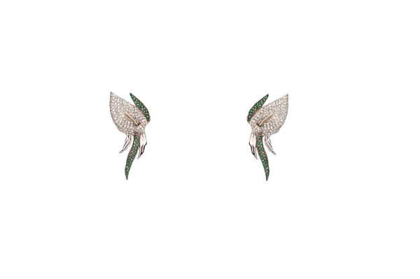 Calla lily flower pavé earrings with diamonds and tsavorites