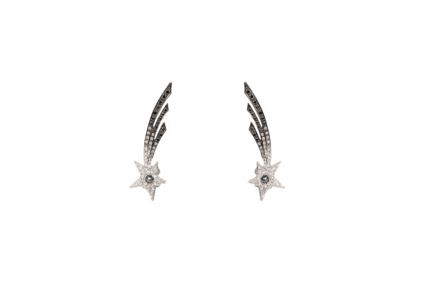 Shooting star earrings with diamonds
