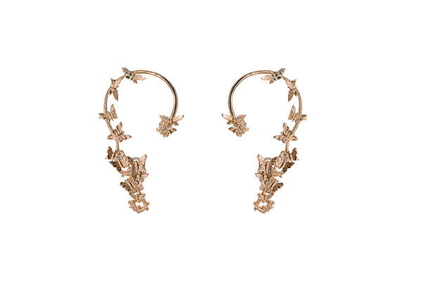 Multi butterflies bronze earrings