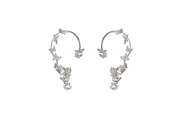 Multi butterflies silver earrings
