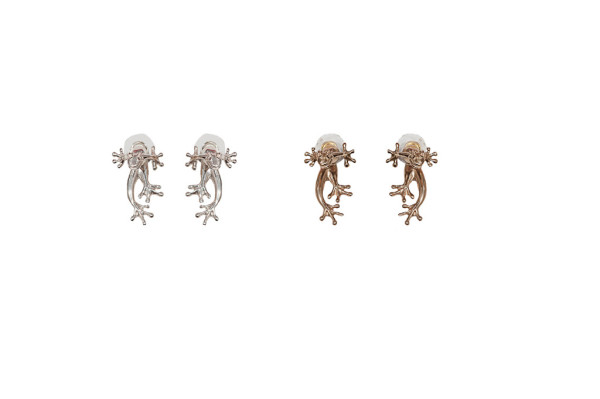 Silver frog earrings / Bronze frog earrings