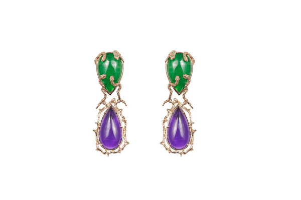 Snakes earrings with amethyst and jade drops