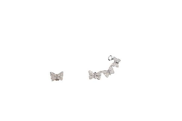 Earrings with pavé diamonds 3 + 1 butterflies