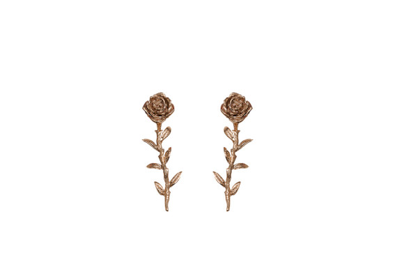 Bronze rose piercing earrings