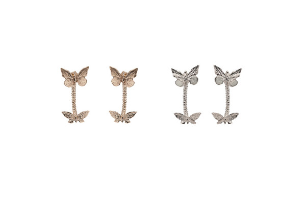 Bronze butterflies piercing earrings / Silver butterflies piercing earrings