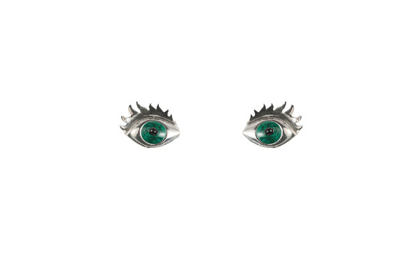 Silver earrings with green enamelled eyes w/lashes