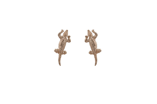 Bronze crocodile earrings