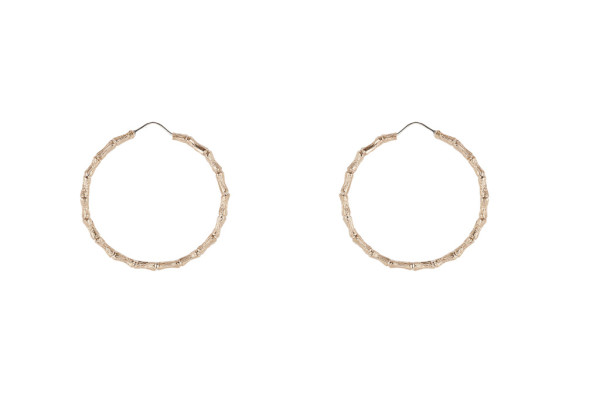 Bronze bamboo large hoop earrings