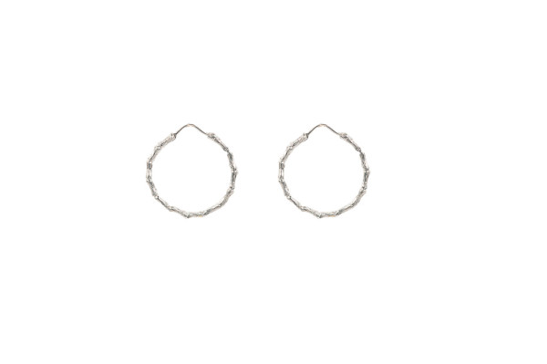 Silver bamboo small hoop earrings