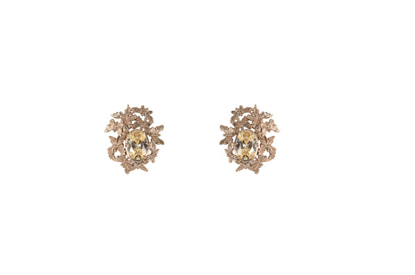 Multi butterflies bronze earrings with yellow zircon
