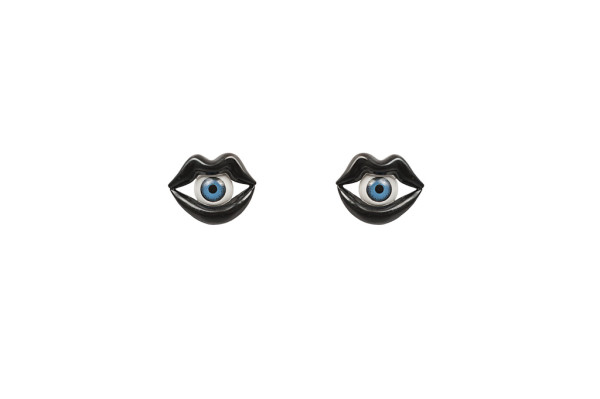 Black bronze mouth earrings with eye