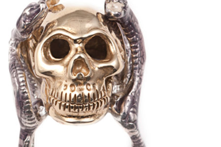 Four snakes ring with bronze skull