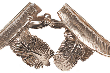 Bronze knuckle feather ring