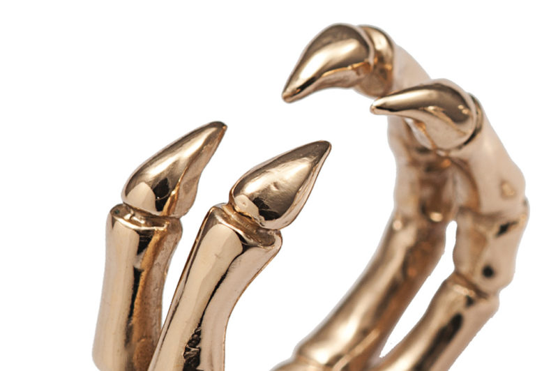 Bronze parrot claw ring