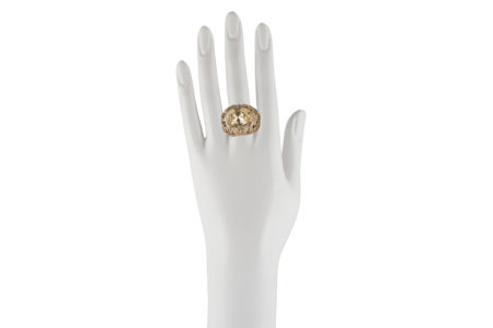 Bronze dome ring with butteflies and yellow cubic zirconia