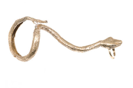 Bronze full hand snake bracelet with ring