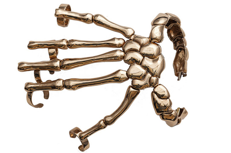 Bronze full hand skeleton bracelet