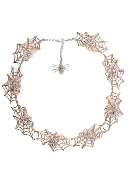 Bronze spiderwebs necklace with 3 silver spiders
