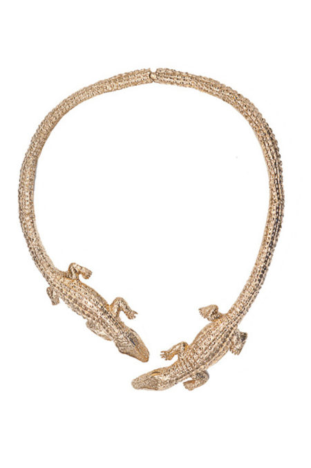 Brass two  crocodiles stiff necklace