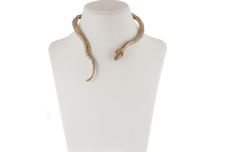 Brass snake stiff necklace