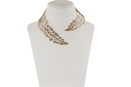 Brass openwork leaf stiff necklace