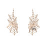 Bronze web earrings with silver spider