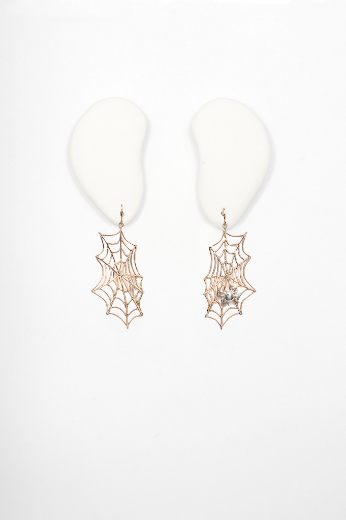 Bronze web with silver spider earrings