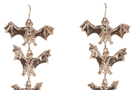 Bronze seven bats earrings