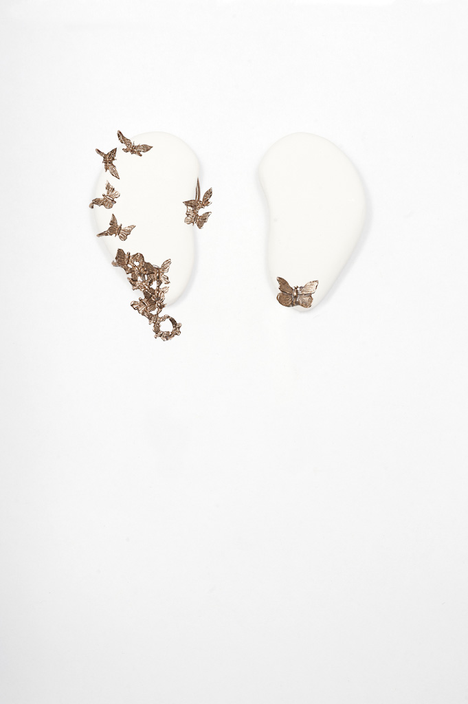 Bronze butterflies earcuff and small butterfly