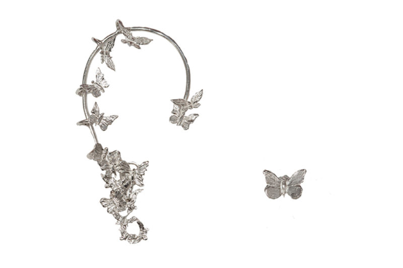 Silver butterflies earcuff and small butterfly
