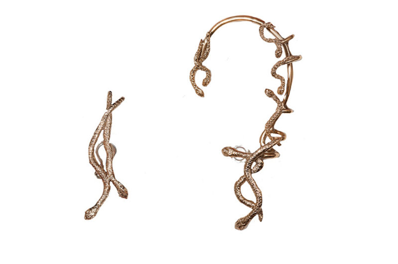 Bronze snakes earcuff and two snakes