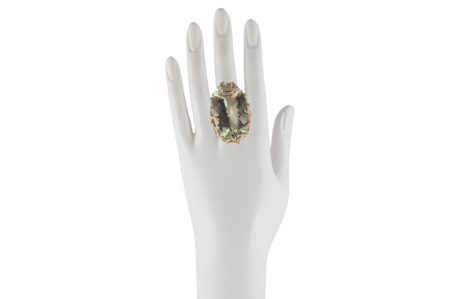 Medusa ring with prasiolite