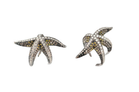 Starfish gold ring with diamonds