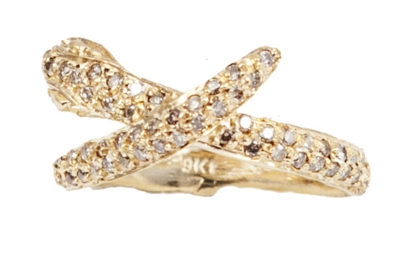 Gold snakes ring with cognac diamonds – style 1