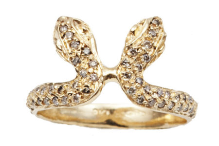 Gold snakes ring with cognac diamonds – style 2