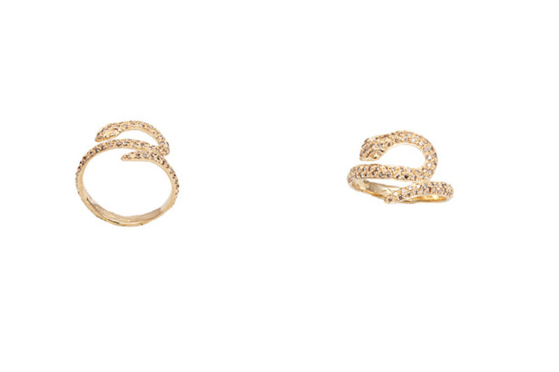 Gold snakes ring with cognac diamonds – style 3