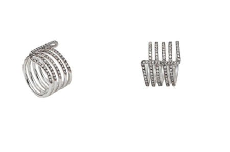 Four bands ring with pavé grey diamonds