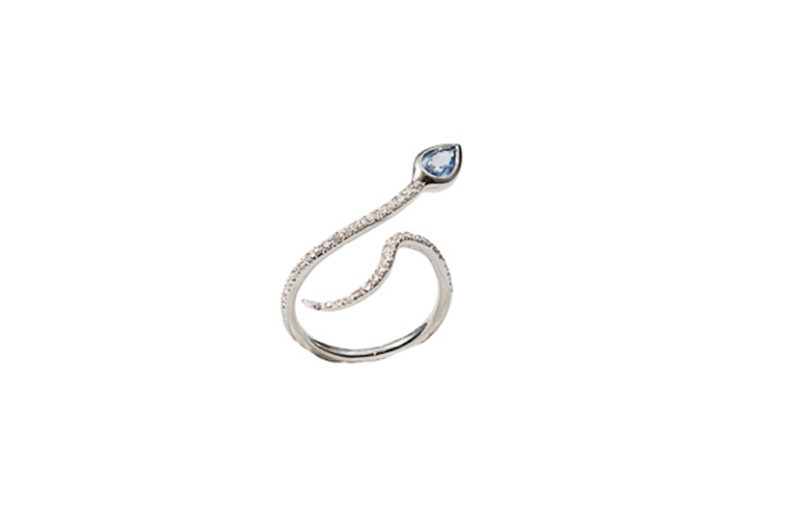 White gold snakes ring with diamonds and sapphire- style 1
