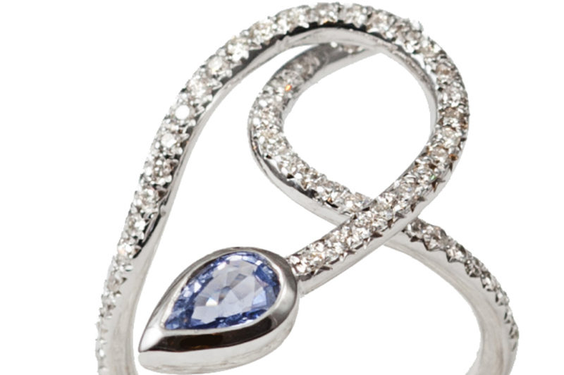 White gold snakes ring with diamonds and sapphire- style 4