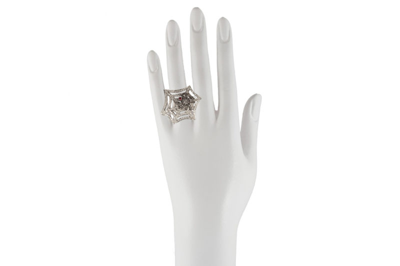 Gold web ring with spider
