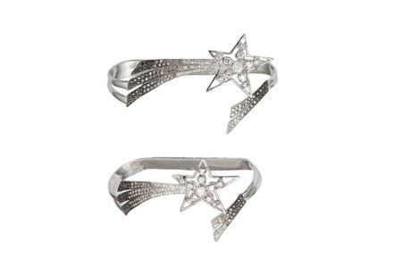 Shooting star palm bracelet with diamonds