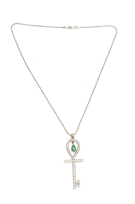 Ankh Key necklace with emerald