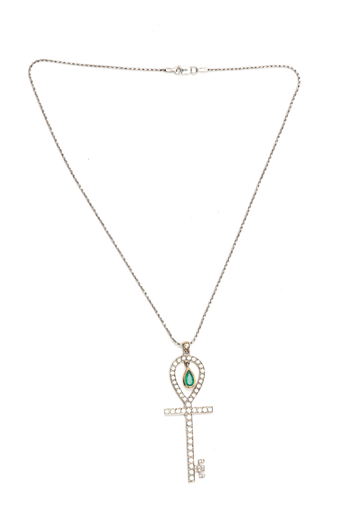Ankh Key necklace with emerald, chain is inclueded