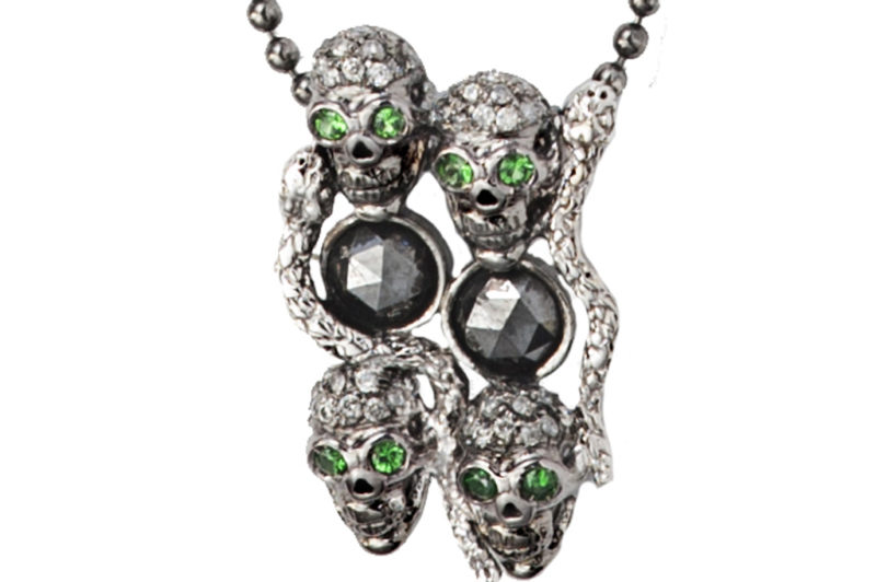 Skulls and snakes  pendant black diamonds