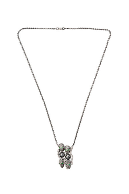 4 skulls and snakes necklace black diamonds