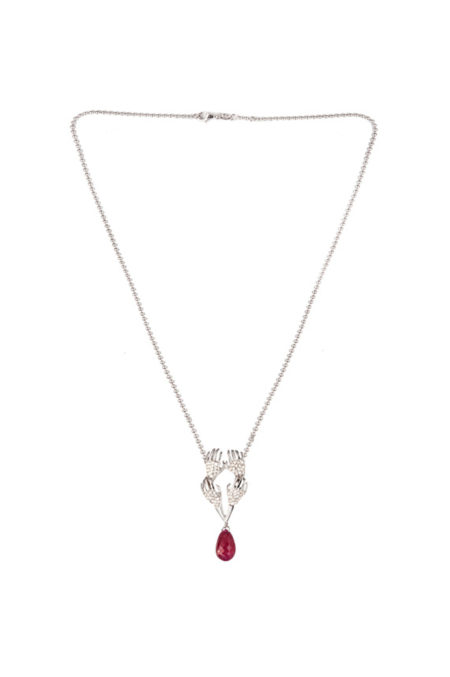 four hands necklace with glass-treated ruby and diamonds
